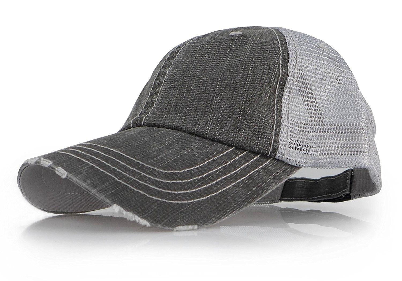 13775551f0f Baseball Trucker Distressed Vintage Denim Mesh Adjustable Cap - Denim Grey  - CA17YLH0O4G - Hats   Caps
