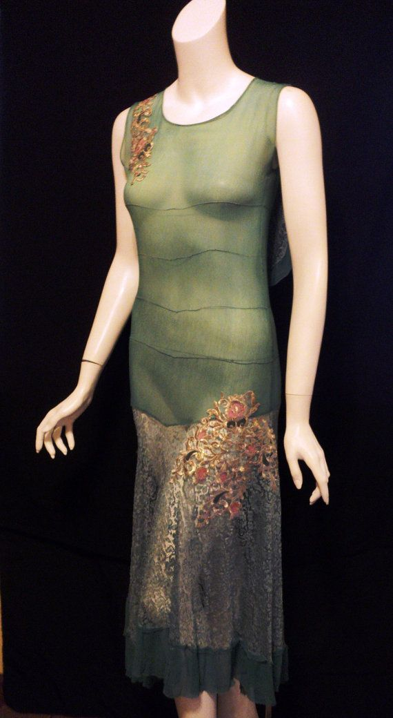 Bellasoiree Original Design 1920's Lace Metallic Floral Appliques silk One of a kind Vintage