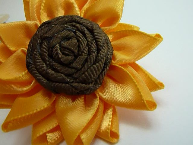 Fabric Bows And More Multi Petalled Ribbon Flower Sunflower By Ribbon Flowers Ribbon Embroidery Fabric Flowers
