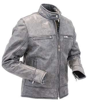 Jamin Leather Womens Hand Painted Vintage Gray Vented Scooter Jacket w//Zip Out #LA805VZGGY