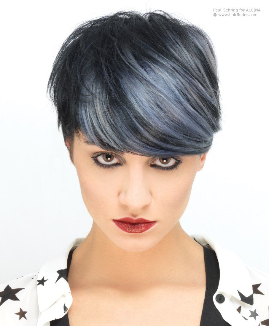 Short Hair With Purple And Black Color And Highlights Google - Silver hair styles