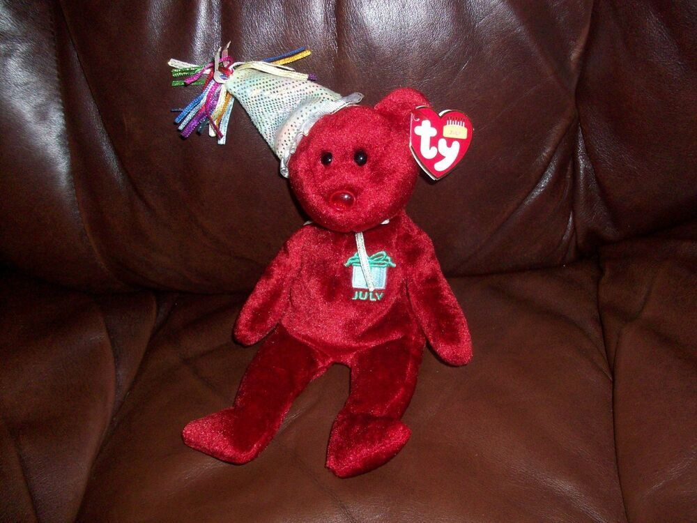 4d28a0bd048 TY Beanie Babies Happy Birthday July Red Bear  Affilink