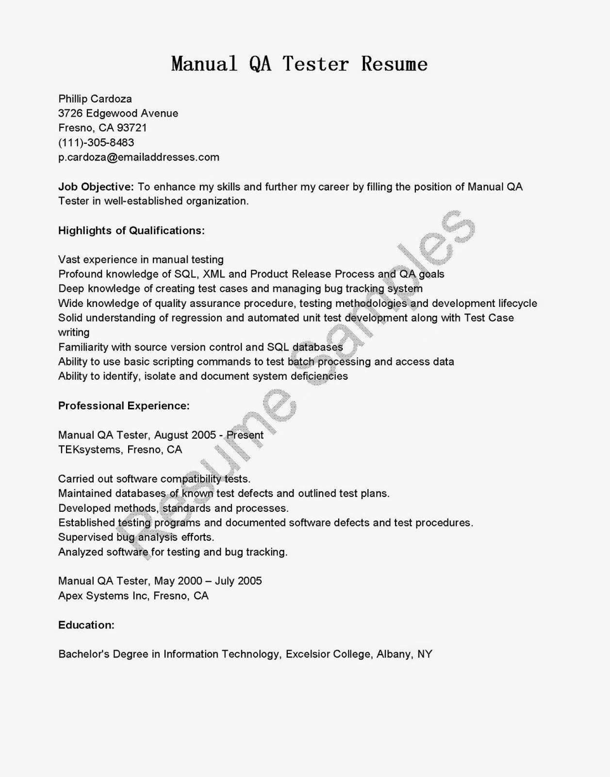 Qa Sample Resume Mainframe Resume Sample Entry Level Recruiter Cover Letter For .