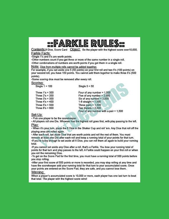 Pdf 8.5X11 Instant Download- Farkle Rules - Farkle - Yard Game