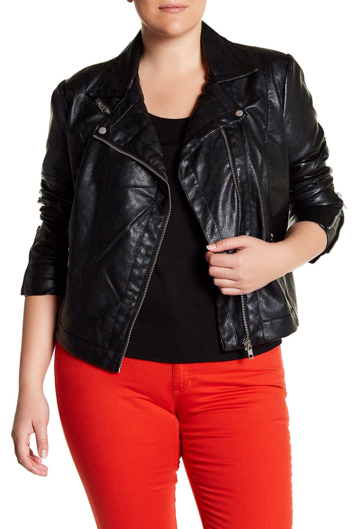 Tart 'Justine' Colorbock Faux Leather Jacket (Plus Size