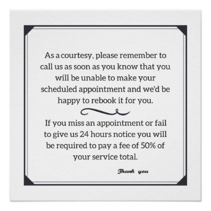 Cancellation Policy Poster Hair Salon Gifts Customize