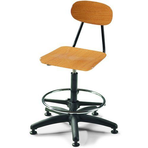 """24""""-29""""H Viking Adjustable Stool with Casters - Golden Oak by Smith System. $274.05. e most often requested features of a classroom chair. For starters, easy care, thanks to the seat and back's tough, smooth finish that resists stains and scratches. Next, there's durability, exemplified by frame and legs finished in either chrome or a tough powder-coat. Finally, easy storage: the Viking Chair can be stacked or turned upside down and put on a desktop or table."""