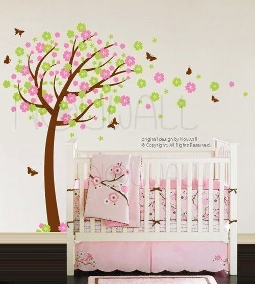 Wall sticker wall decal -Windy Flowery Tree with Butterflies (large) - 094. $85.00, via Etsy.