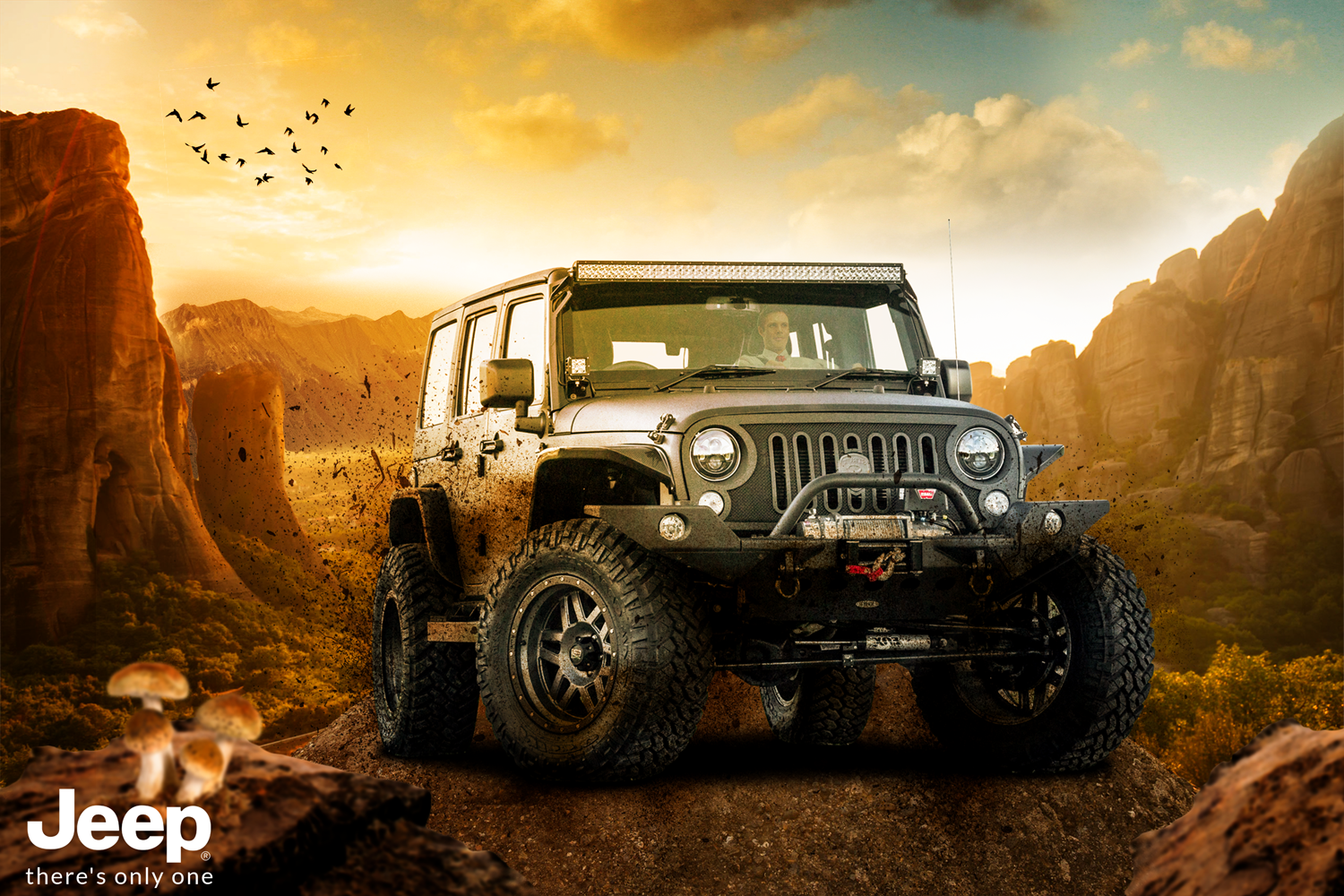Jeep Outdoor Ad There 039 S Only One Jeep Social Media Design Monster Trucks