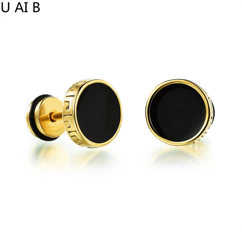 Hot Fashion Jewelry Cool Man Stud Earrings Round Rock Pie Retro Black Anium New 2017 Brincos For Women