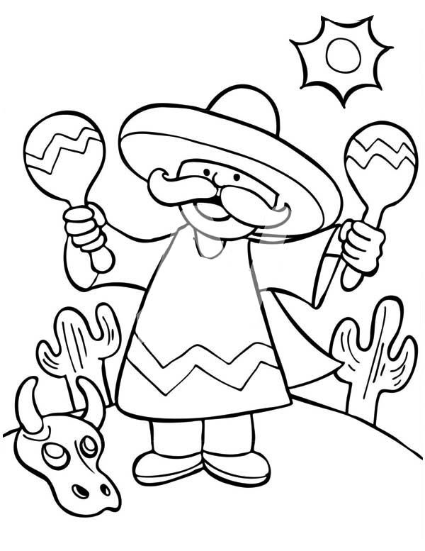 A Mexican Man Shaking Two Maracas At Mexican Fiesta Mexico Printable Coloring Pages