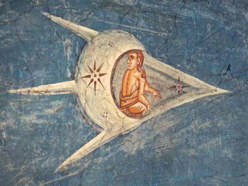 A comet, fresco paintings -- Detail of the Crucifixion of Christ, at the Visoki Dečani Monastery (above the altar) in Kosovo, 14th C.