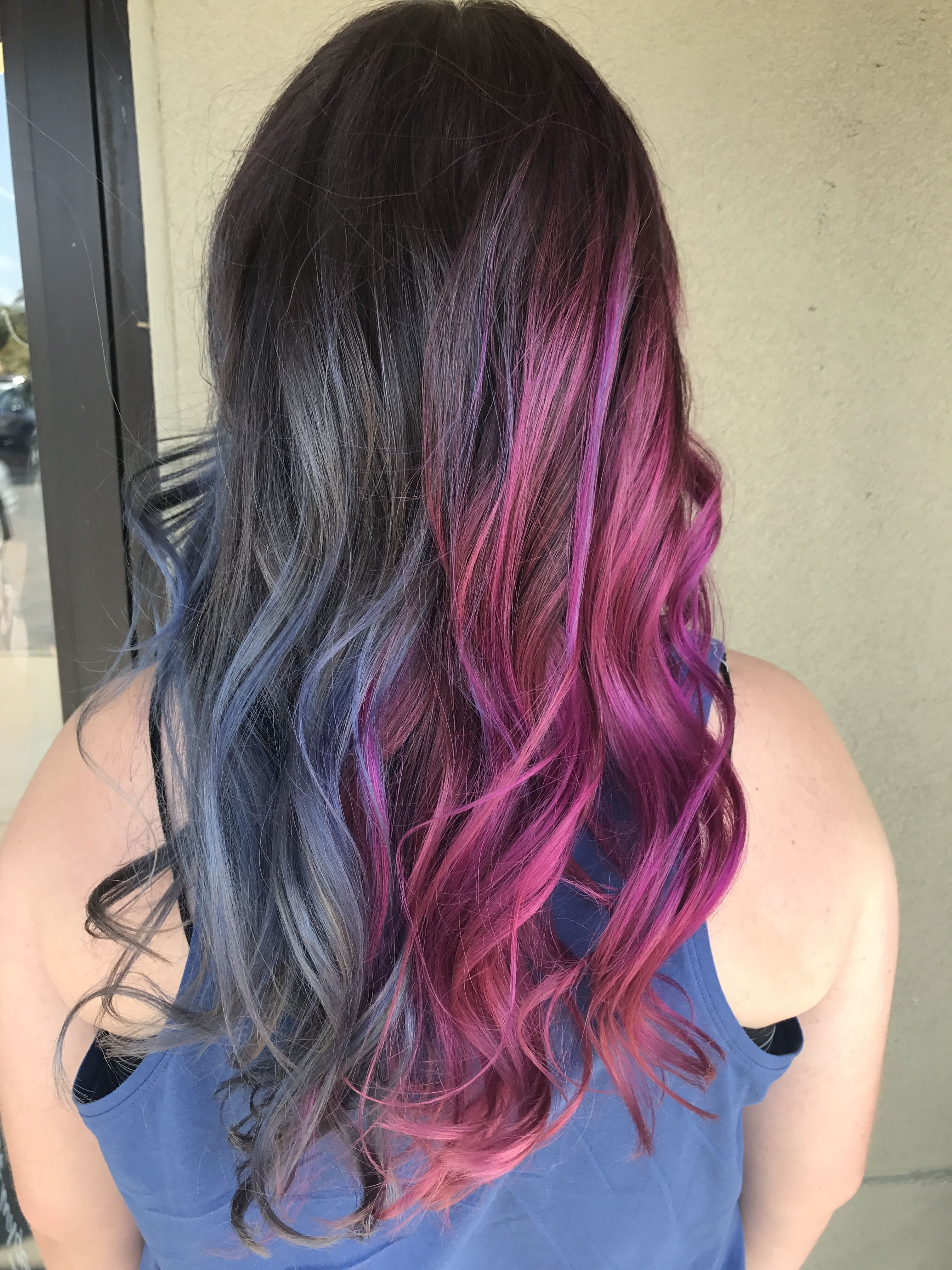 Silvery Blue And Magenta Split Color Long Wavy Hair Split Dyed Hair Split Hair