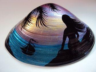 Deniz Kabuğu Boyama örnekleri Rocks Shells Shell Crafts Sea