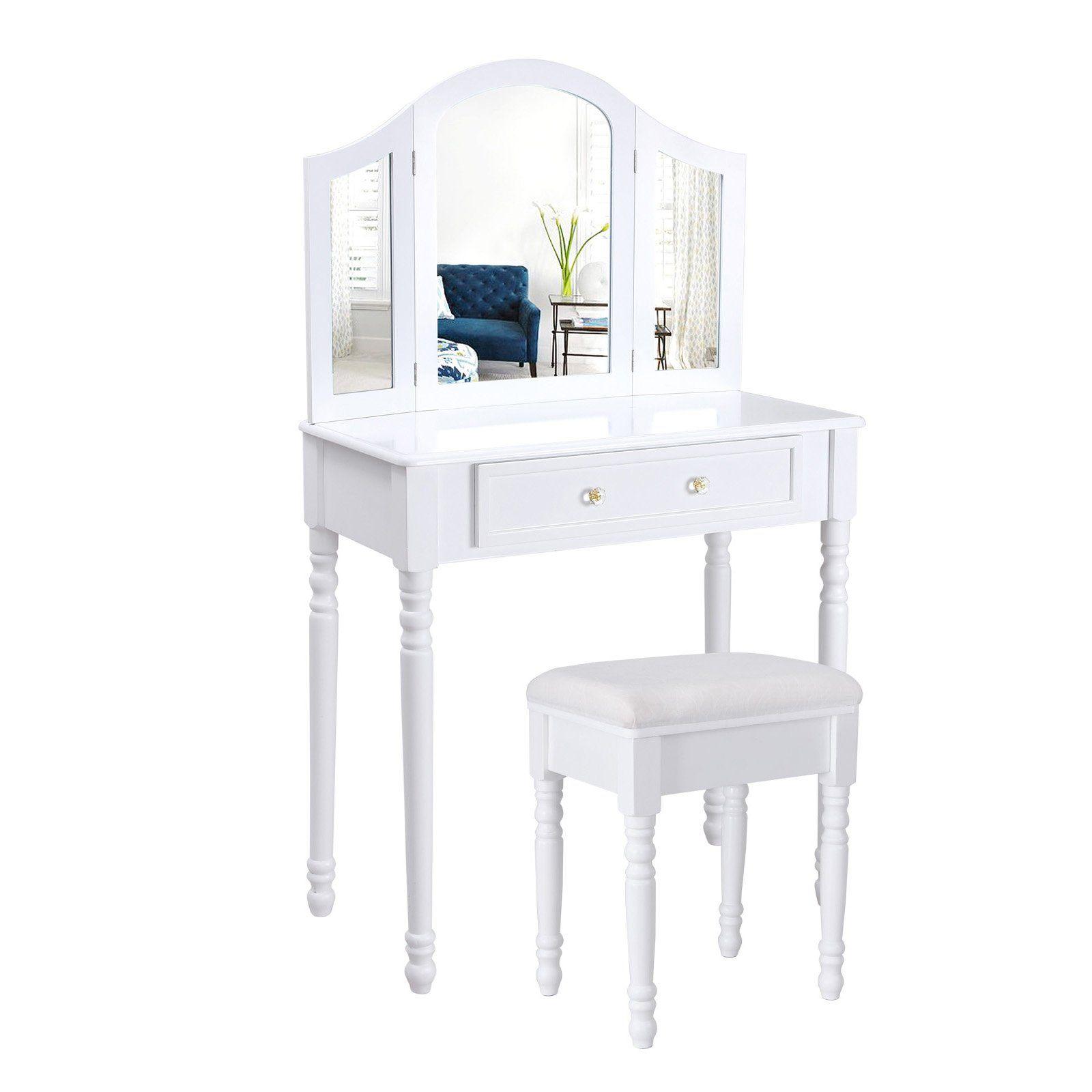songmics schminktisch frisierkommode frisiertisch kosmetiktisch inkl hocker spiegel wei. Black Bedroom Furniture Sets. Home Design Ideas