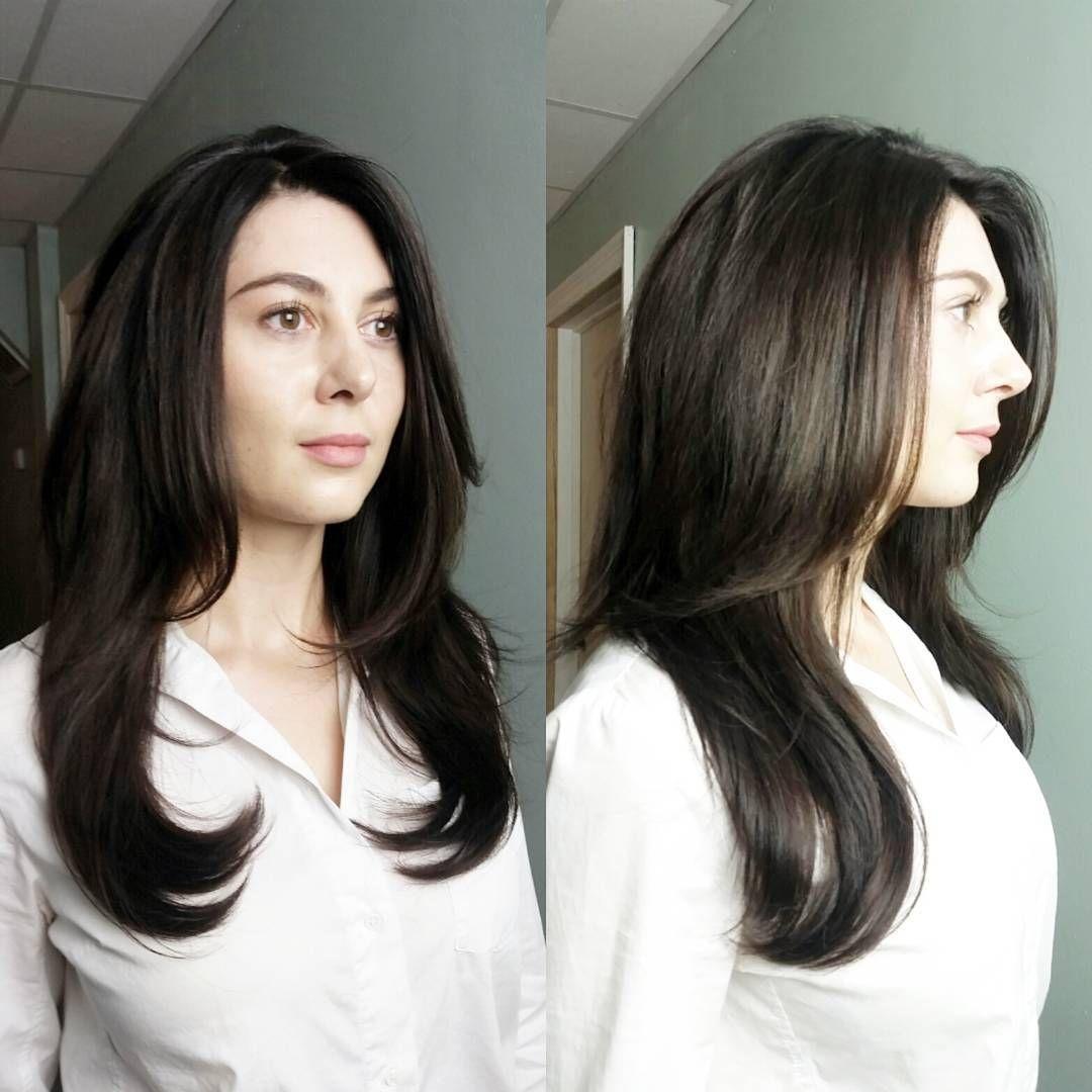 Layered hairstyles medium length hair - Dark Ash Brown Layered Mid Length Hair