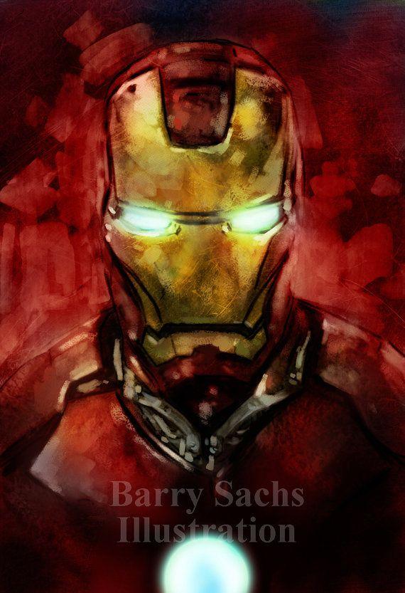 Iron Man Art Print 11x17 by BarrySachsBarryGood on Etsy, $15.00