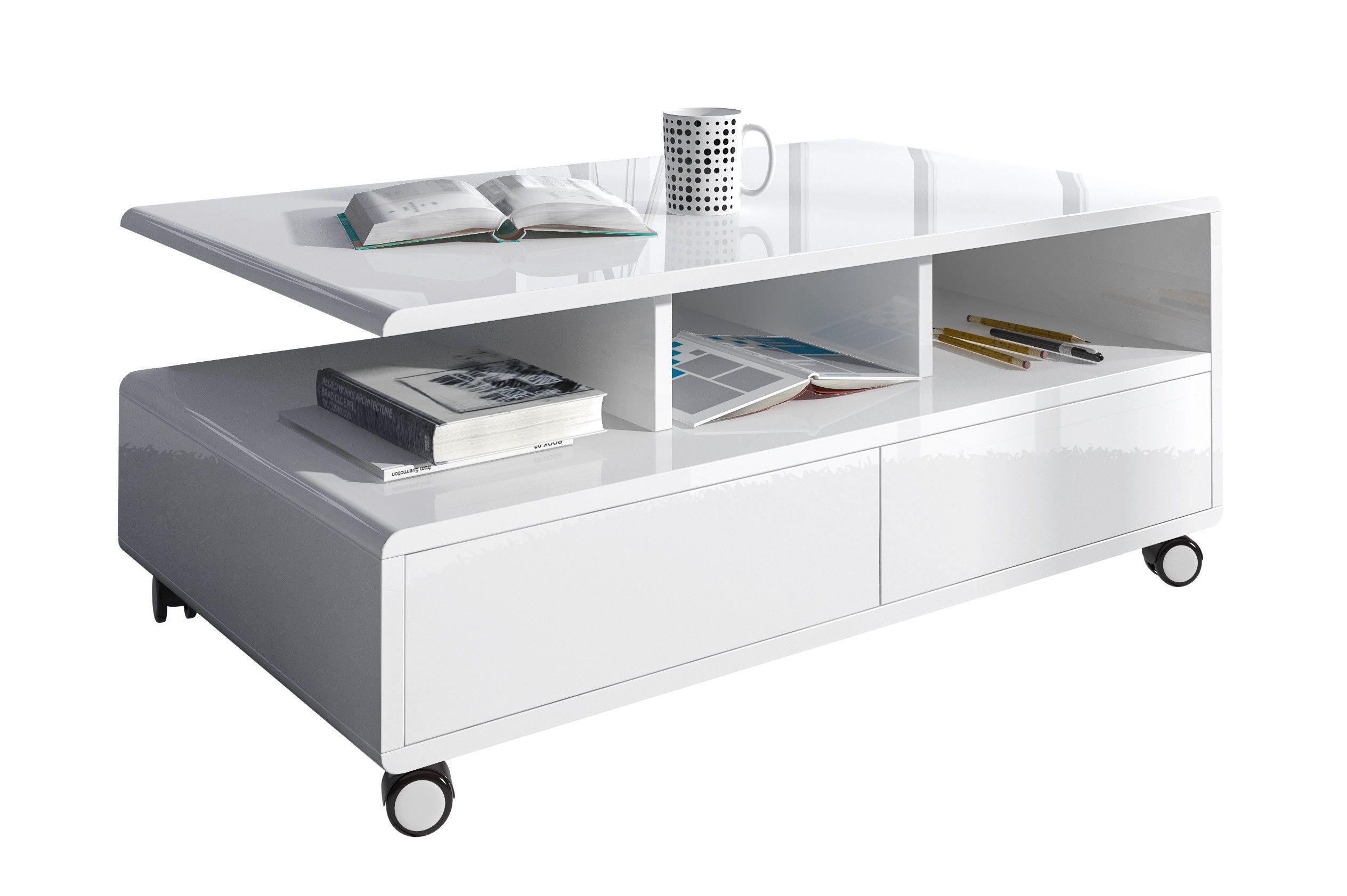 Table basse rectangulaire  roulette coloris blanc laqué