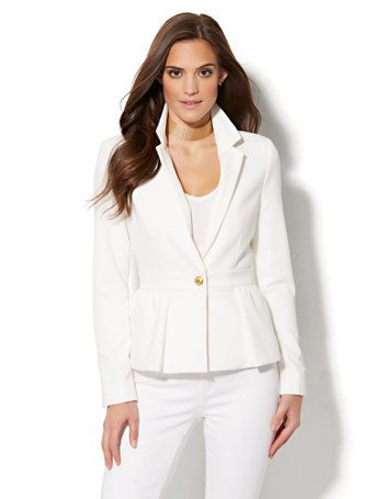 $89 Shop 7th Avenue Design Studio - Peplum Jacket - White . Find your perfect size online at the best price at New York & Company.