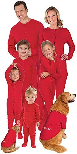 Matching Red Cotton Dropseat Christmas Pajamas for the WholeFamily