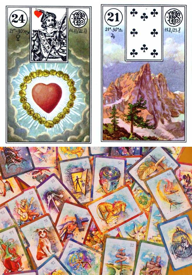 lenormand tarot cards, cartomancy love reading and carded meaning