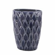 Deep Blue Wide Vase is part of Unique Home Accessories Vases - The decorating possibilities are endless with this widemouthed vase  The wavy design of the vase is given the designer treatment with rich, deep blue glaze that will look great in your room For decorative purposes only Item weight 3 2 lbs  7½  x 5  x 9¼  high  Stoneware