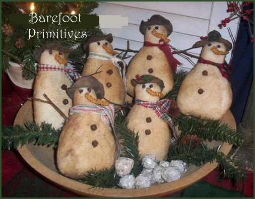 Craft Crafters Crafting Handcrafted: Snowman Ornies! Free Christmas Craft Pattern! Primitive Country!