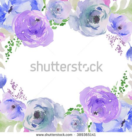 Blue Watercolor Flowers Wreath Watercolour Background Floral