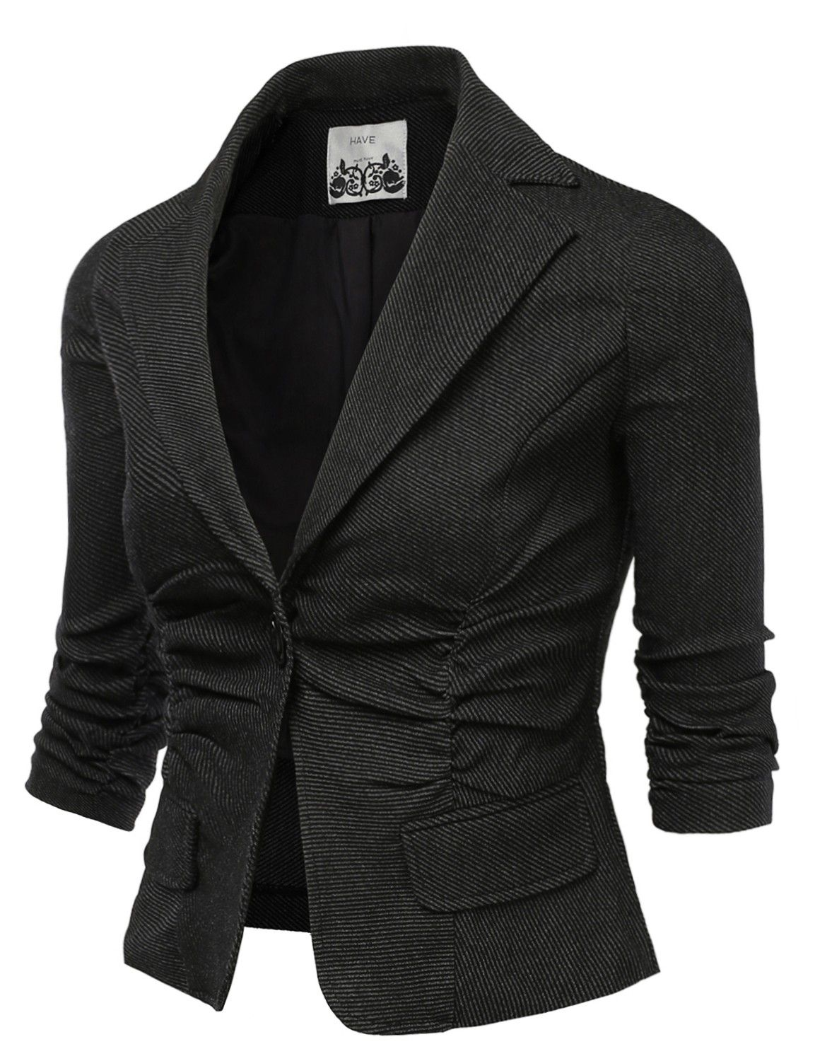 Jtomson Womens Ruched Sleeve Fitted Boyfriend Blazer | fashion ...