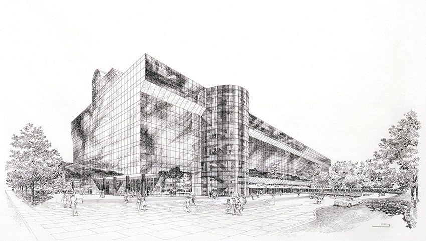 [A3N] : Carloz Diniz's rendering of Pacific Design Center / Cesar Pelli for Gruen Associates.