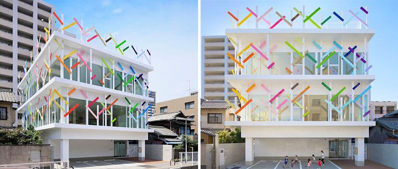 Colorful Branches Give This Kindergarten Building In Japan A Playful Twist Color Architecture Madeforkids Designlove