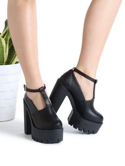 3b60b4fce Zapatos pu con plataforma con correa al tobillo - negro | ropa en ...