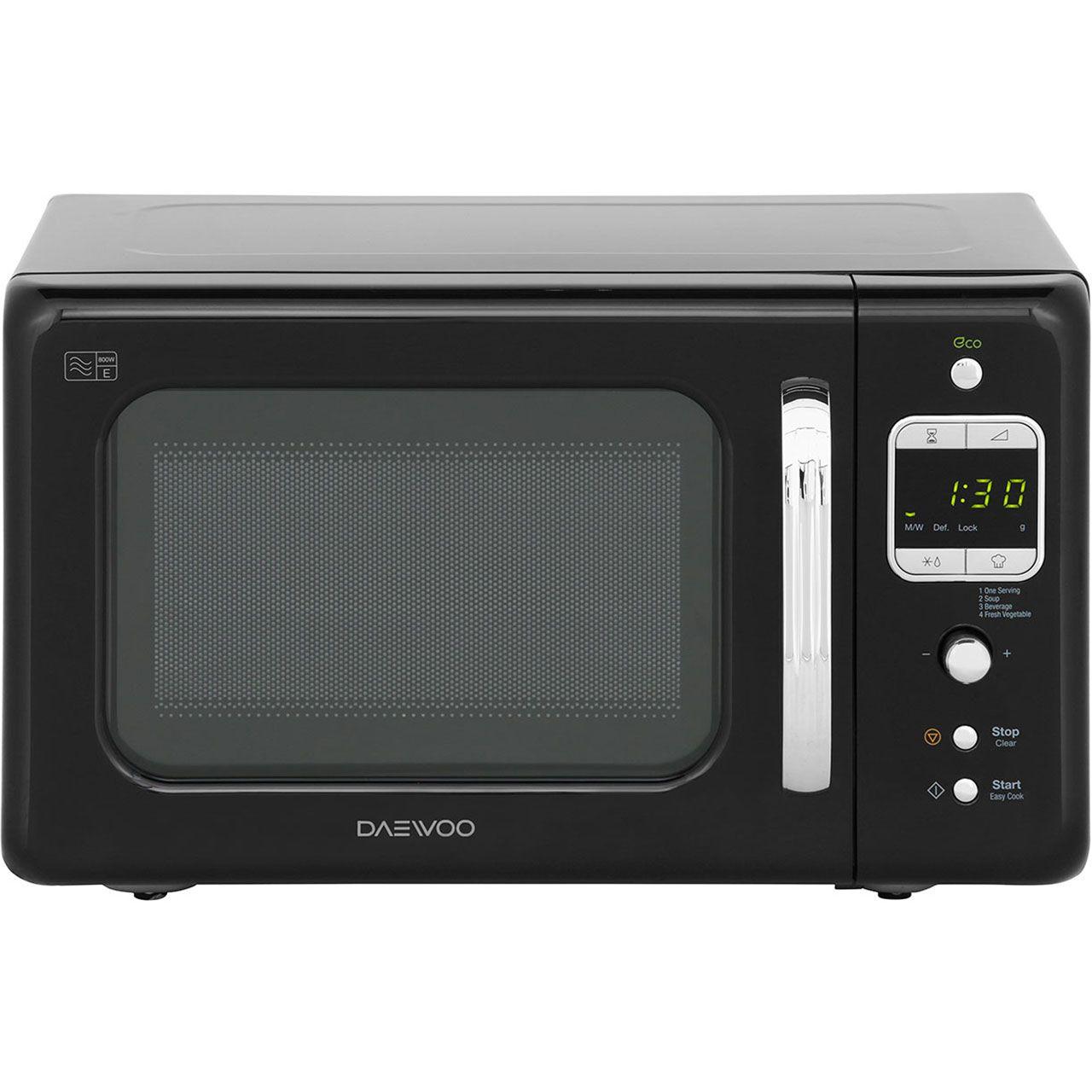 Daewoo Retro Style Kor7lbkb 20 Litre Microwave Black