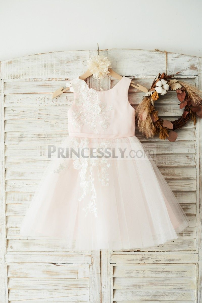 Ivory lace tulle pink satin wedding flower girl dress junior