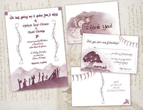 Lord Of The Rings Wedding Invitations Nerdy Geeky Invitation Set
