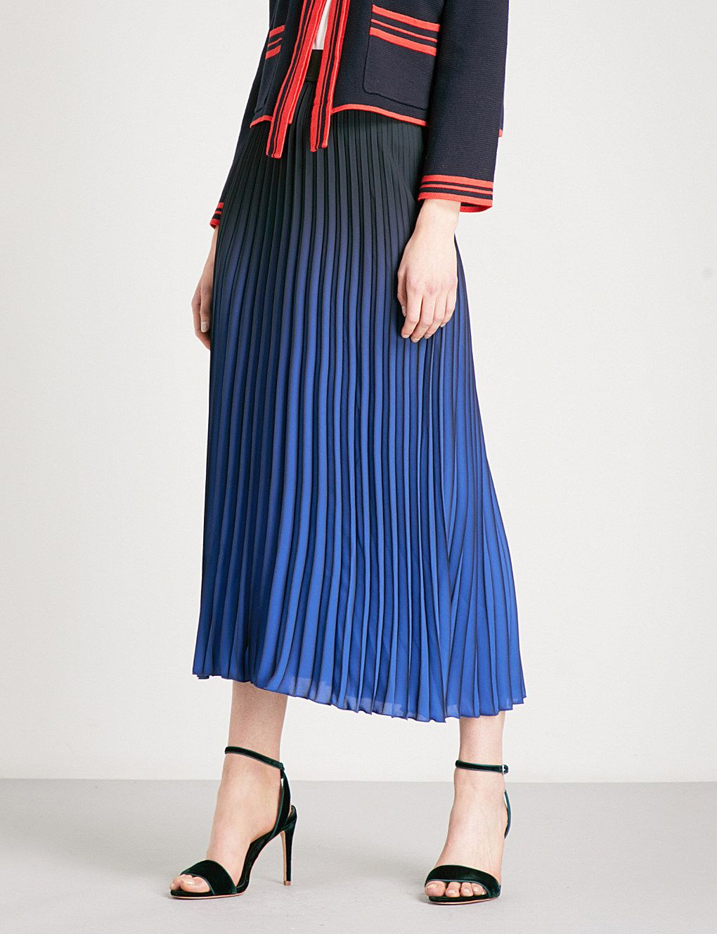 best cheap top quality best sale MAJE Jonael pleated crepe midi skirt | Fashion | Midi skirt ...