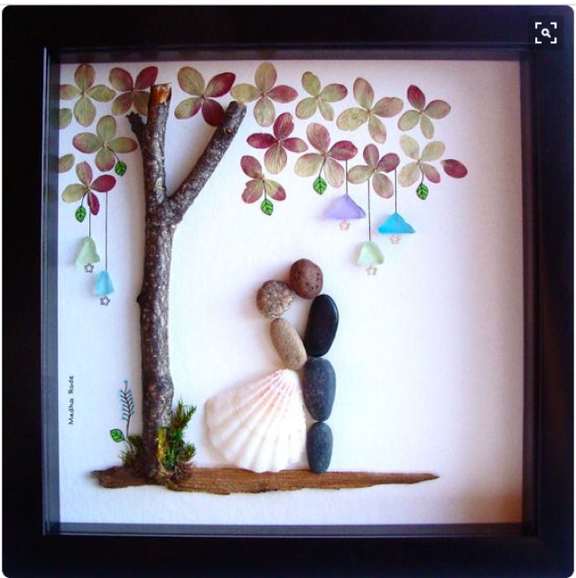 Wedding Gift Pebble Art Unique Engagement Personalized Present Bride And Groom By Medharode On Etsy