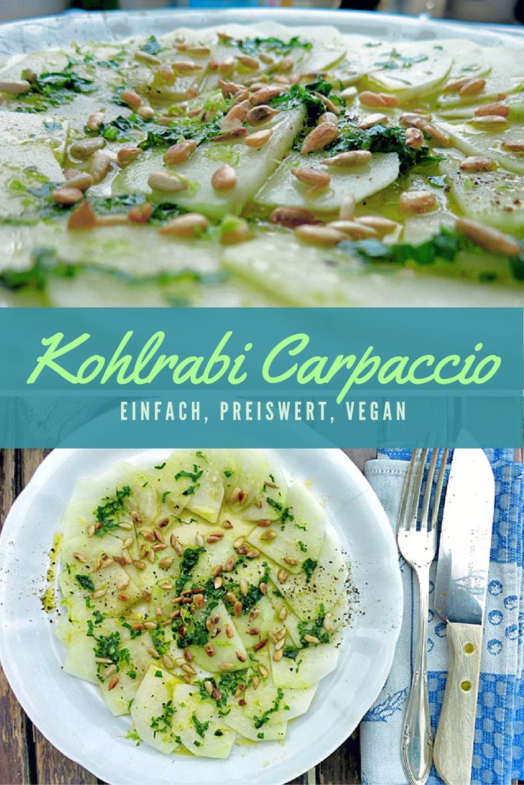 DIE Idee für Kohlrabi: Knackiges Carpaccio mit Sonnenblumenkernen und leichtem Zitrone & Öl Dressing. Blitzschnell zubereitet, vegan und nur wenige Zutaten.