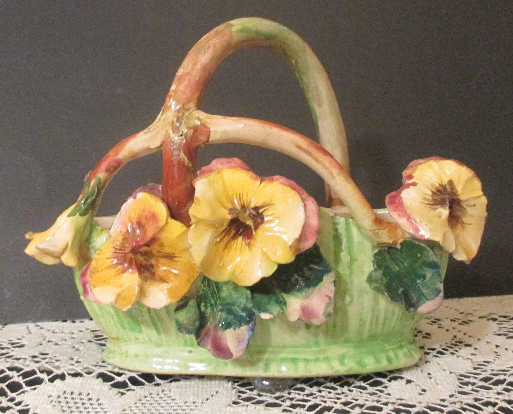 Capodimonte Porcelain Flowers And Handled Oval Basket / With ...