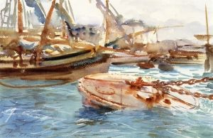 John Singer Sargent -The Pink Buoy: Genoa 1906-1907 - The Athenaeum