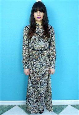 Vintage 70s Floral Maxi Boho Dress #vintage #seventies #style #fashion #ss16 #floral #pattern