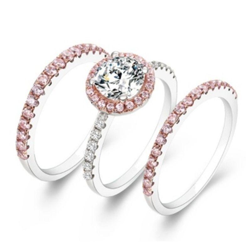 Woman S Fashion 925 Sterling Silver Pink White Diamond Engagement