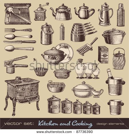 vector set kitchen and cooking - collection of vintage kitchen items and tableware - buy this stock vector on Shutterstock \u0026 find other images.  sc 1 st  Pinterest & vector set: kitchen and cooking - collection of vintage kitchen ...