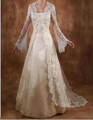 Hot Vintage Elegant Lace Long Sleeve Wedding Jacket Cloak Bridal Wraps