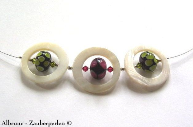 Halskette No 170~  handgefertigte Glasperlen ~