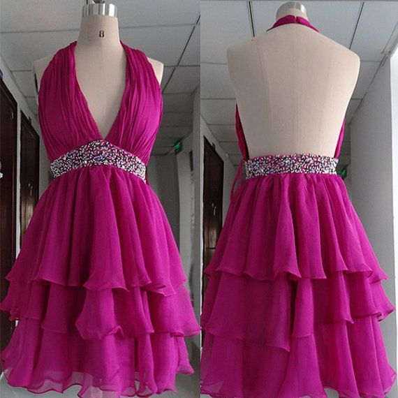 Backless short evening dressshort bridesmaid by Bridesandfashion