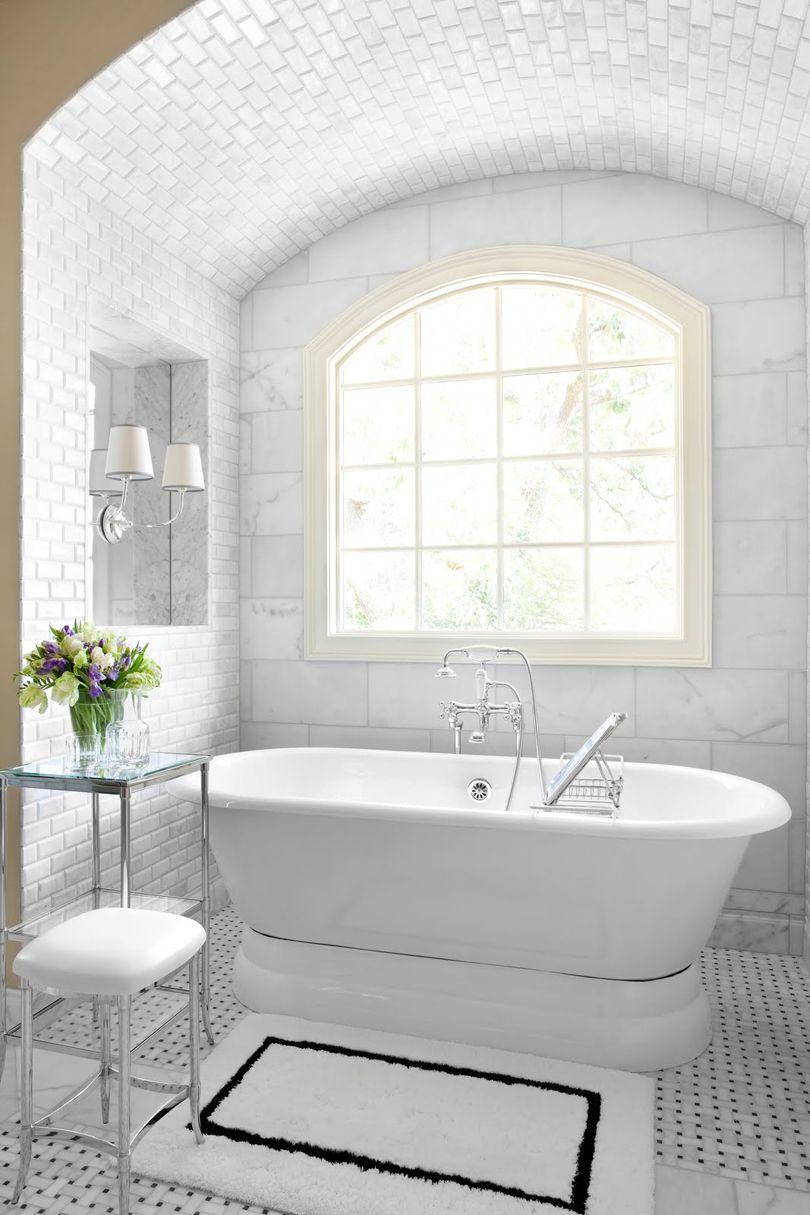 tiled rug under tub - Hmmm, make MOST of floor basket weave or other ...