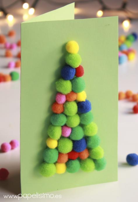 Tarjetas navide as con pompones para ni os http - Manualidades navidenas faciles para ninos ...