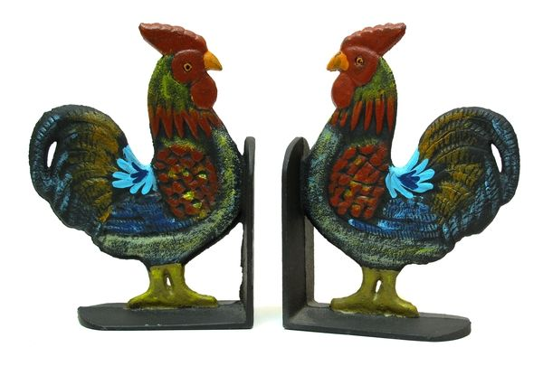 Cast Iron Rooster Bookends Set  Could put a shelf up in the kitchen and put cookbooks on it!!