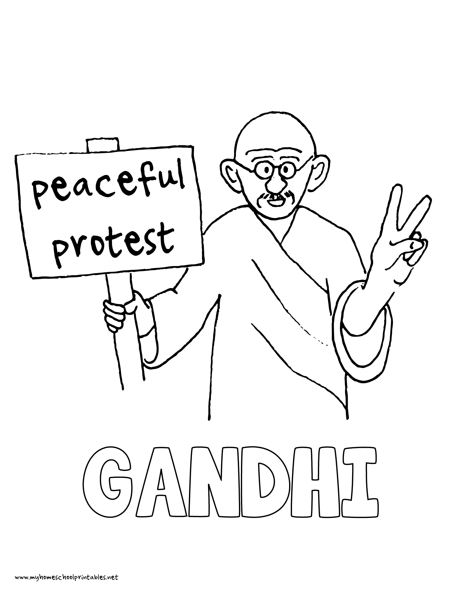 History Coloring Pages – Volume 4 | Mahatma gandhi